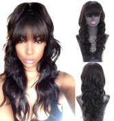 Superwigy 100% Brazilian Long Human Hair Wigs Body Wave Nature Black Lace Front and Full Lace Remy Hair Wig with Bangs for Choose
