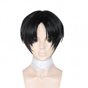 Anogol Hair Cap+Black Boy's Cosplay Wig Short Straight Costume Hair Halleween Wigs