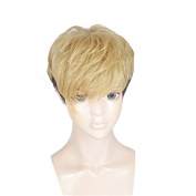 Anogol Hair Cap+Cosplay Wig Short Wavy Black Ombre Brown Costume Hair Halleween Wigs