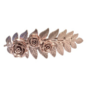 Rose gold colour hair clips Fern Hair Clips Rose Bridal Barrette Large fern and Roses For Thick Hair Angelina Verbuni