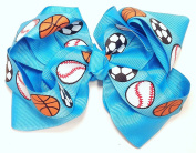 13cm Soccer, Baseball & Basketball Sports Hair Clip Barrette Bow for Girls - Turquoise Blue