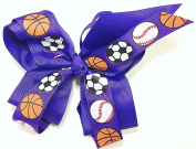13cm Soccer, Baseball & Basketball Sports Hair Clip Barrette Bow for Girls - Purple