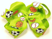13cm Soccer, Baseball & Basketball Sports Hair Clip Barrette Bow for Girls - Green