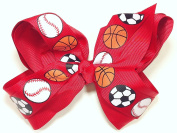 13cm Soccer, Baseball & Basketball Sports Hair Clip Barrette Bow for Girls - Red