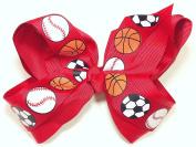 13cm Soccer, Baseball & Basketball Sports Hair Clip Barrette Bow for Girls - Red