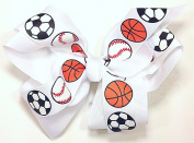 13cm Soccer, Baseball & Basketball Sports Hair Clip Barrette Bow for Girls - White