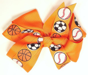 13cm Soccer, Baseball & Basketball Sports Hair Clip Barrette Bow for Girls - Orange