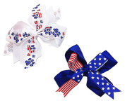 Set of Two 13cm American Flag & Pawprint Patriotic Fourth Of July Red White & Blue Hair Clip Barrette Bow for Girls