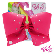 JoJo Siwa Signature Collection Hair Bow with Rhinestones - Magenta With Sticker Patch Set Included