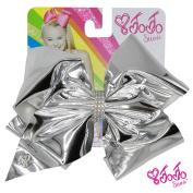 JoJo Siwa Signature Collection Hair Bow Ribbon with Rhinestone Keeper Metallic Silver