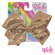 JoJo Siwa Signature Collection Hair Bow with Sequins - Light Gold With Sticker Patch Set Included