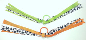 Set of Two Soccer Sports Ribbons Hair Elastic Ponytail Holders for Girls - Green & Orange