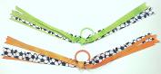 Set of Two Soccer Sports Ribbons Hair Elastic Ponytail Holders for Girls - Green & Orange