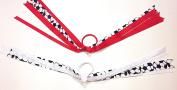 Set of Two Soccer Sports Ribbons Hair Elastic Ponytail Holders for Girls - Red & White