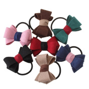 iWenSheng 7 Pcs No Crease Hair Bow Ties Ponytail Holders Elastic Bands Styling Tool Accessories