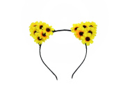 HH Building Daisy Flower Cat Ear Handmade Headband Hairband Costume Headpieces