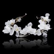 Wedding Flower Crown Pearl Headband - AWAYTR Bohemia Women Bridal Headpiece Wedding Hair Clips Hair Accessories
