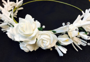 So Sweet Lovely Handmade Bride Bridal Bridesmaid Headbands Tiaras Crown White Rose