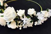 Bridal Bridesmaid Headpeices Headdress Artificial Flower Wedding Tiaras Crown w/ White Roses Beads Vintage Look So Lovely!