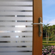 Becry Vinyl Static Cling White Forst Stripe Decorative Home Office Front Door Translucent Glass Window Film Clings Covering,17.7-by-78.7 Inches
