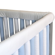 Go Mama Go Organic Teething Guard Protects Baby and Crib, Blue/White, 80cm x 15cm