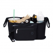 Lalawow Stroller Organiser Universal Fit,Two Insulated Cup Holders,BPA-free Stroller Organiser Bag with Zip-off Wristlet