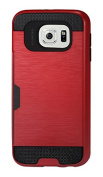 Reiko Silicone Protective Wallet Case for Samsung Galaxy S6/S6 Duos - Retail Packaging - Red