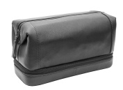 Prime Hide Soft Black Leather Zipped Bottom Wash Bag Toiletry Bag - Black