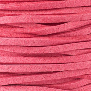 Pink Hibiscus Microsuede 1.5mm Thick, 2mm Wide Flat Cord - 25 yard spool