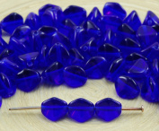 50pcs Crystal Royal Blue Clear Large Pinch Bicone Faceted Spacer Czech Glass Beads 7mm