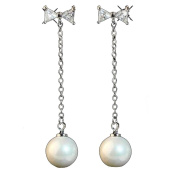 Long bow tie artificial pearl tassel earrings