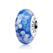 ATHENAIE Murano Glass 925 Silver Core Blue Flower Garden Bead Charms Colour Blue