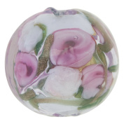 Pale Pink with Pink Roses and Aventurina Gold Foil Bed of Roses Round 14mm Murano Glass Bead Handmade Lampwork