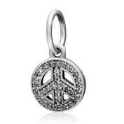 Symbol of Peace Dangle Charm 925 Sterling Silver Love Beads fit for Fashion Charms Bracelets