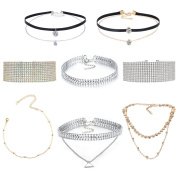 Tpocean 8pcs Women's Gothic Tatto Wide Thick Colourful Rhinestone Crystal Double Layer Leather Metal Bead Choker Necklace with Pendant Set Adjustable For Women Girls