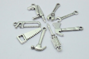 48pcs Antique Silver tone 8 kinds Mix 3D Tool Charm Collection Hammer Charm Wrench Charm Saw Charm Pliers Charm Tape Charm Screwdriver Charm Construction Charm
