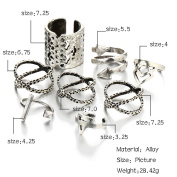 8PCS Anti-Silver Arrow Vintage Gothic Joint Knuckle Open Rings Tribal Carved Stacking Midi Knuckle Ring Set Jewellery