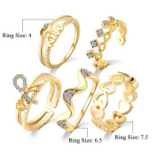 5PCS/Set Crystal Heart Open Joint Knuckle Rings Turkish Carving Nail Midi Knuckle Stacking Ring Set for Women