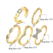 5PCS/Set Crystal Heart Bow-knot Open Joint Knuckle Rings Stack Nail Midi Knuckle Statement Ring Jewellery
