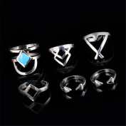 6PCS Turquoise Vintage Arrow Open Gothic Joint Knuckle Rings Tribal Carved Stacking Midi Knuckle Ring Set Jewellery