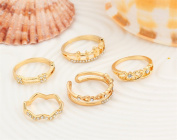 5PCS/Set Crystal Heart Flower Open Joint Knuckle Ring Set Carving Nail Midi Knuckle Statement Ring Jewellery for Women