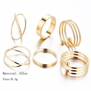 6PCS/Set Steampunk Open Joint Knuckle Gold Rings Rock Jewellery Stack Band Nail Midi Knuckle Statement Ring Set