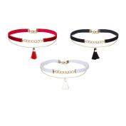 MingJun 3 Pieces Velvet Choker Gothic Elastic Type Tassel Double Layer pendant Necklace for Women Girls Teens