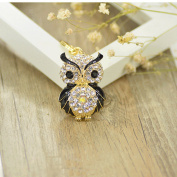 Cute Owl Crystal Key Chains Women Rhinestone Bag Buckle Pendant Car KeyChains G black