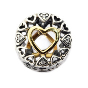 FASHICON European Loving Circle Charm Beads with 14K Gold Plated 925 Sterling Silver DIY Fits for Original Bracelet Jewellery Making