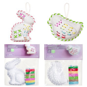 Lot of 2 Spritz Embroidery Ornament Kits - Chick & Bunny