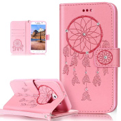 Galaxy S6 Case,Galaxy S6 Cover,ikasus Glitter Diamond Embossing Floral Flower Skull Campanula PU Leather Flip Wallet Pouch Stand Credit Card ID Holders Case Cover for Galaxy S6,Dreamcatcher Pink