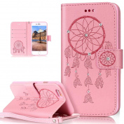 iPhone 6S Case,iPhone 6 Case,ikasus Glitter Diamond Embossing Flower Skull Campanula PU Leather Flip Wallet Pouch Stand Credit Card ID Holders Case Cover for iPhone 6S / 6 12cm ,Dreamcatcher Pink