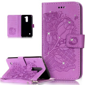 LG Stylo 2 Case,LG Stylus 2 Case,ikasus Glitter Diamond Embossing Flower Skull PU Leather Flip Wallet Pouch Stand Credit Card ID Holders Case Cover for LG G Stylo 2/LG Stylus 2 LS775,Roses Purple