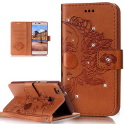 Huawei P9 Lite Case,Huawei P9 Lite Cover,ikasus Glitter Diamond Embossing Flower Skull Campanula PU Leather Flip Wallet Pouch Stand Credit Card ID Holders Case Cover for Huawei P9 Lite,Skeleton Brown